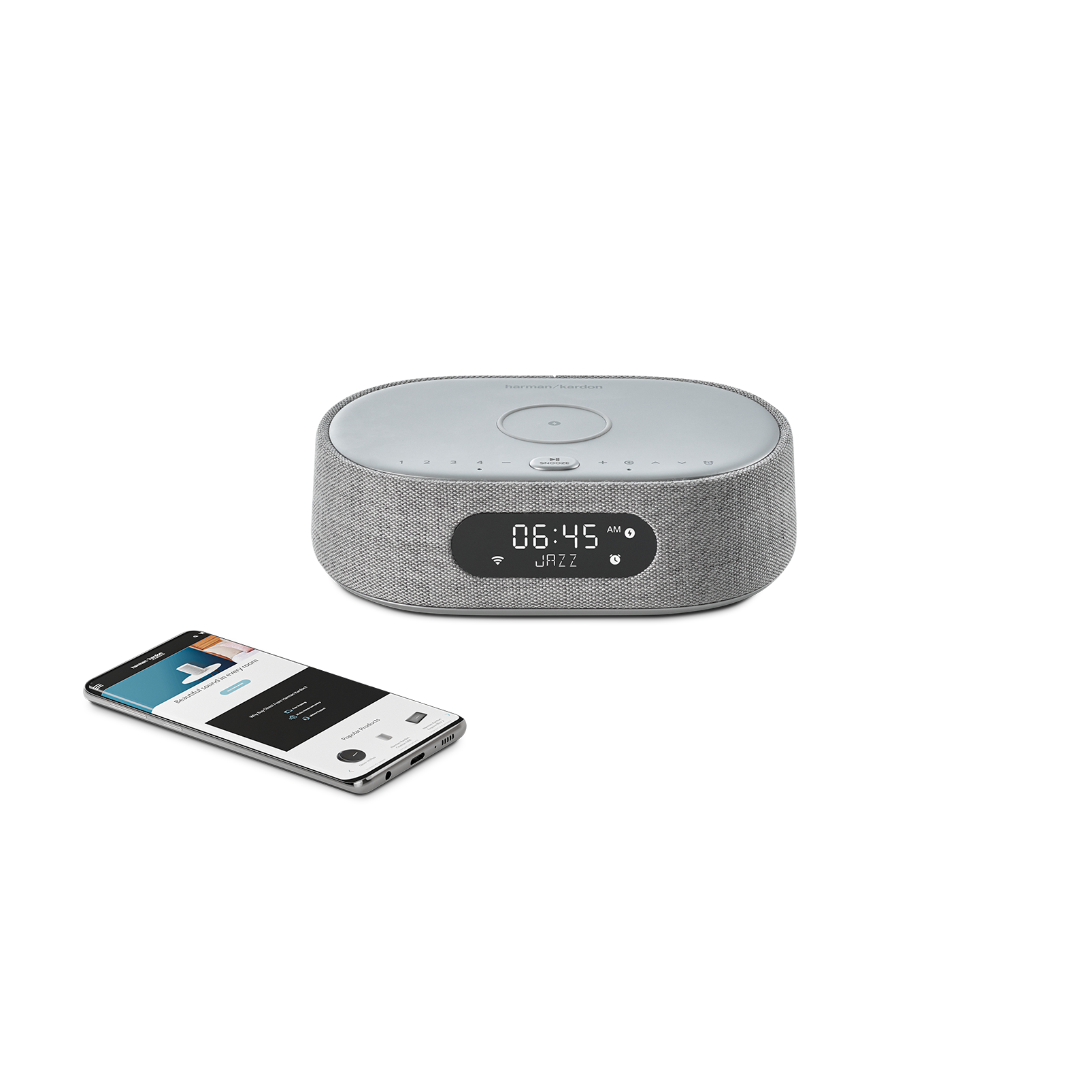 Harman Kardon Citation Oasis - Grey - Voice-controlled speaker with DAB/DAB+ radio and wireless phone charging - Detailshot 1